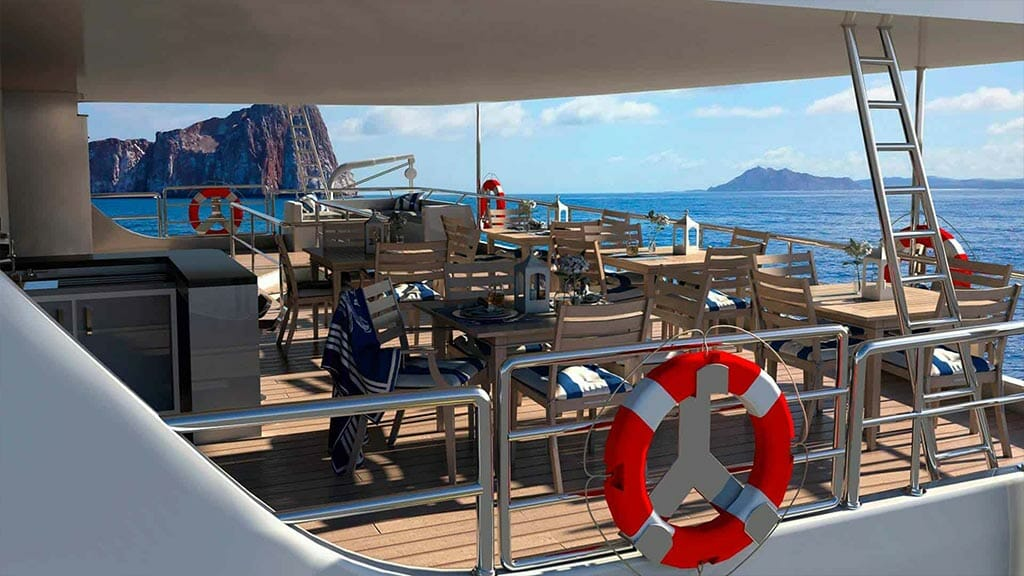 TipTop v galapagos yacht - outdoor al fresco dining area
