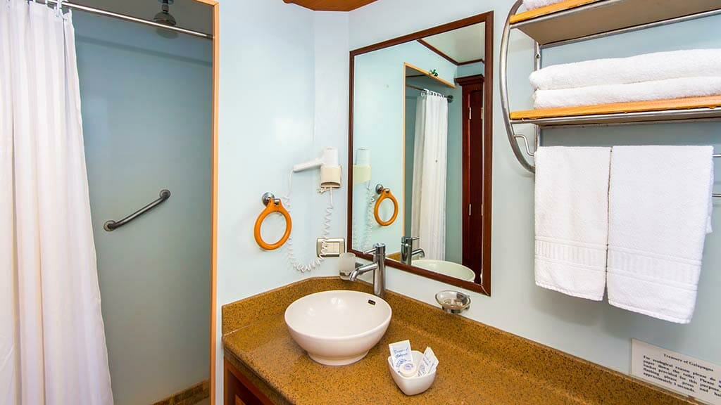 treasure of galapagos yacht - ensuite bathroom and shower