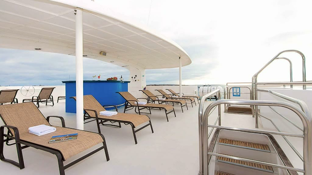 sun deck and loungers on the treasure of galapagos catamaran yacht