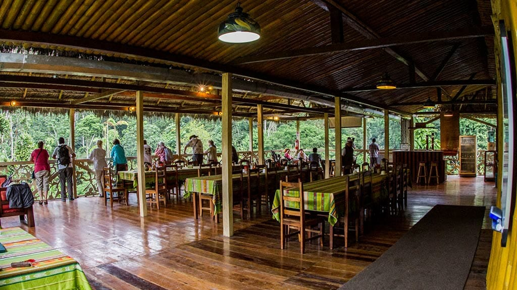 tourists enjoy amazon jungle vewis from the balcony of Yarina lodge restaurant