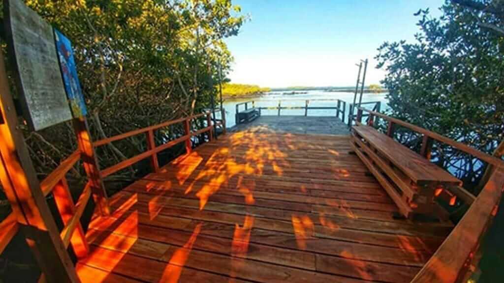 boardwalk entrance to concha de perla beach on isabela island galapagos
