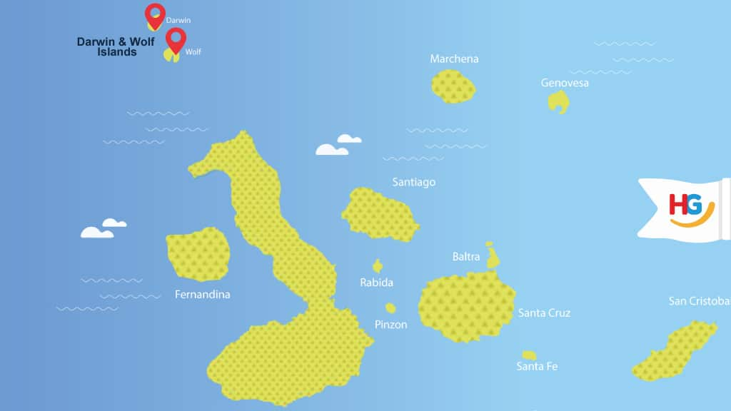 map - where are wolf and darwin islands at Galapagos?