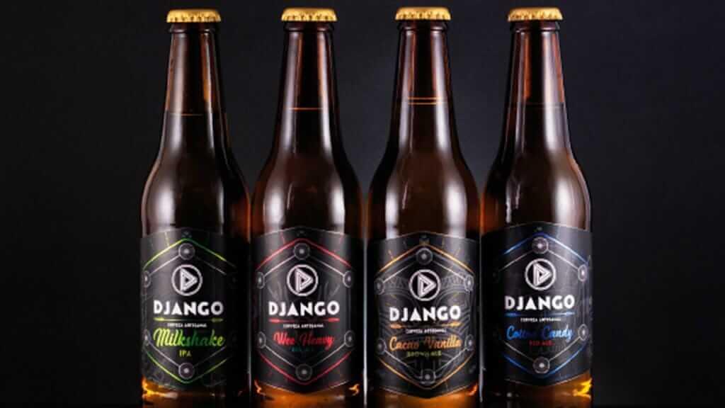 django cerveza artesanal ecuador - four bottles of django craft beer
