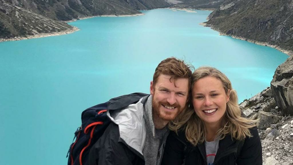 honeymoon couple visiting lakes in huaraz peru