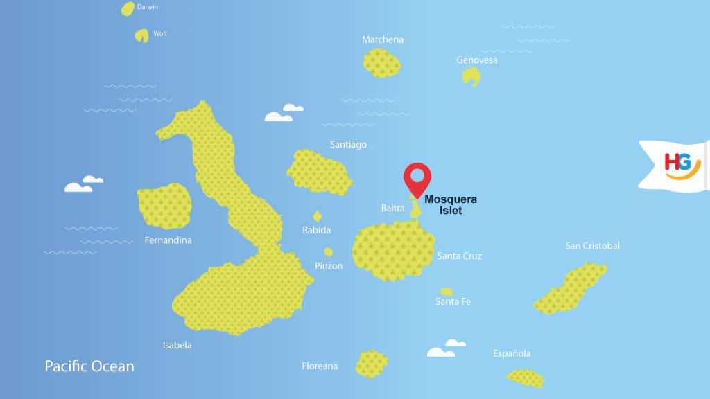 mosquera islet galapagos map location - where is mosquera islet?