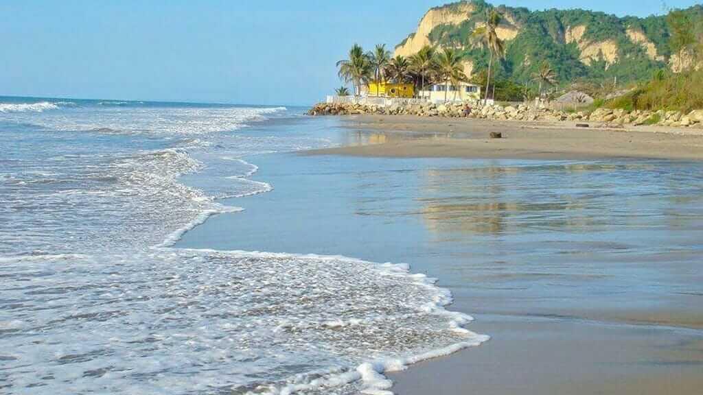 gentle waves on san clemente beach shore in ecuador