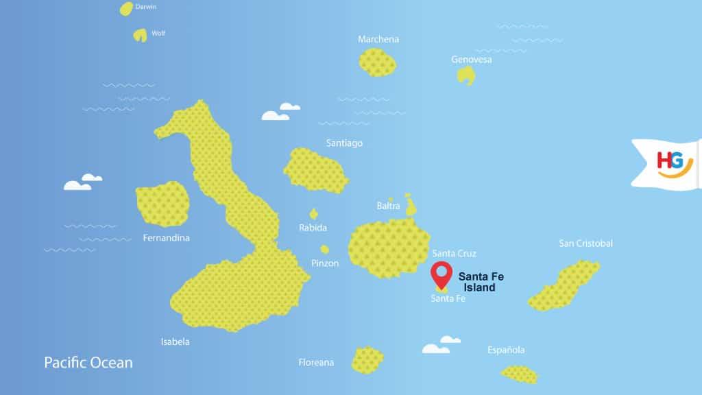 santa fe galapagos map - where is santa fe island?