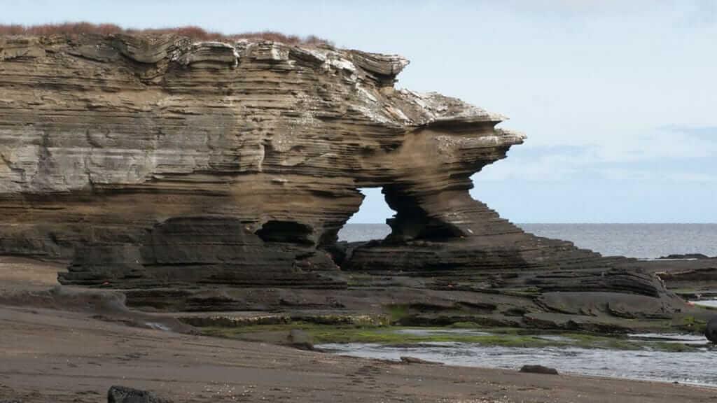 volcanic geology of santiago island at galapagos