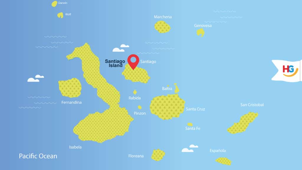 santiago island galapagos map - where is santiago island?