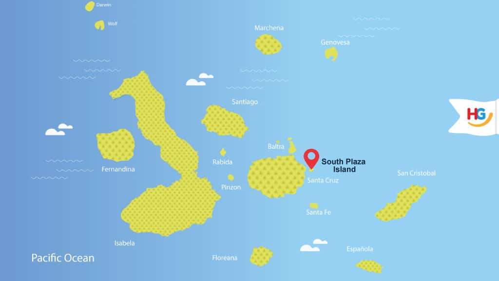 south plaza Galapagos map - where is south plaza island?