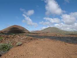 brown lava landscape of santiago island galapagos