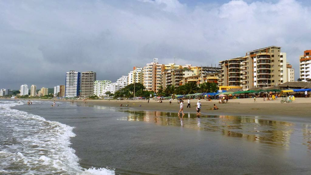ecuador beaches - condo buildings line tonsupa beach