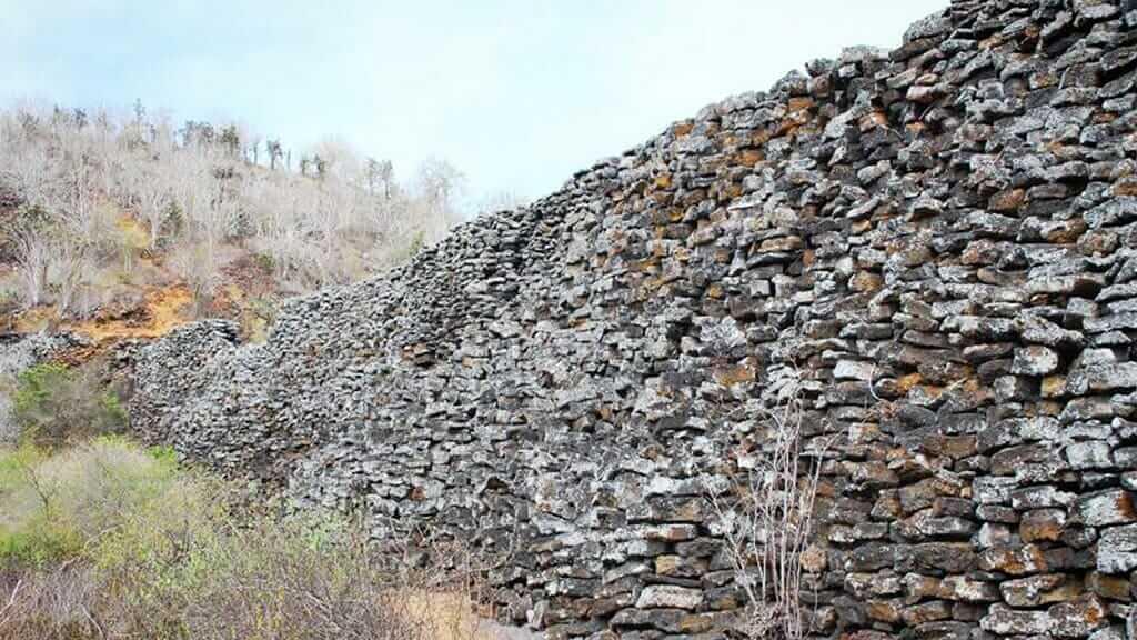 wall of tears (muro de lagrimas) stone wall on isabela island galapagos