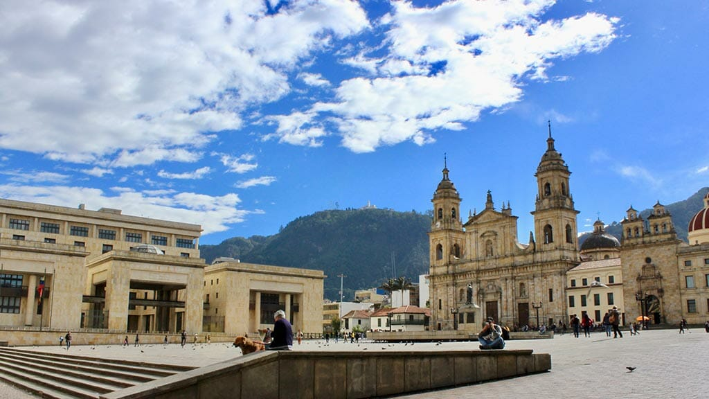 bogota colombia tourists on main square