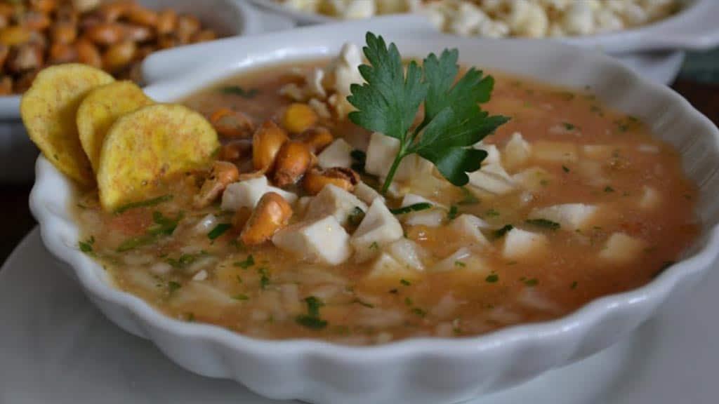 ceviche de corvina sea bass - a traditional dish in ecuador