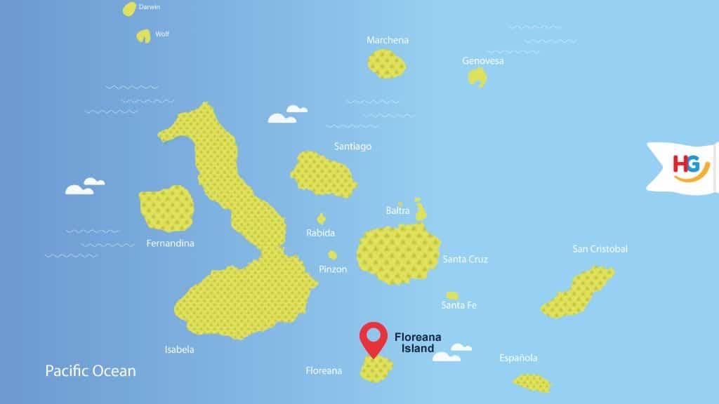 map of floreana island at galapagos - where is floreana island?