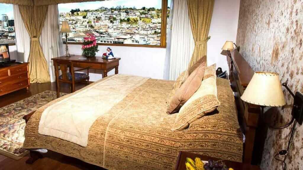 double bedroom at hotel patio andaluz in quito ecuador