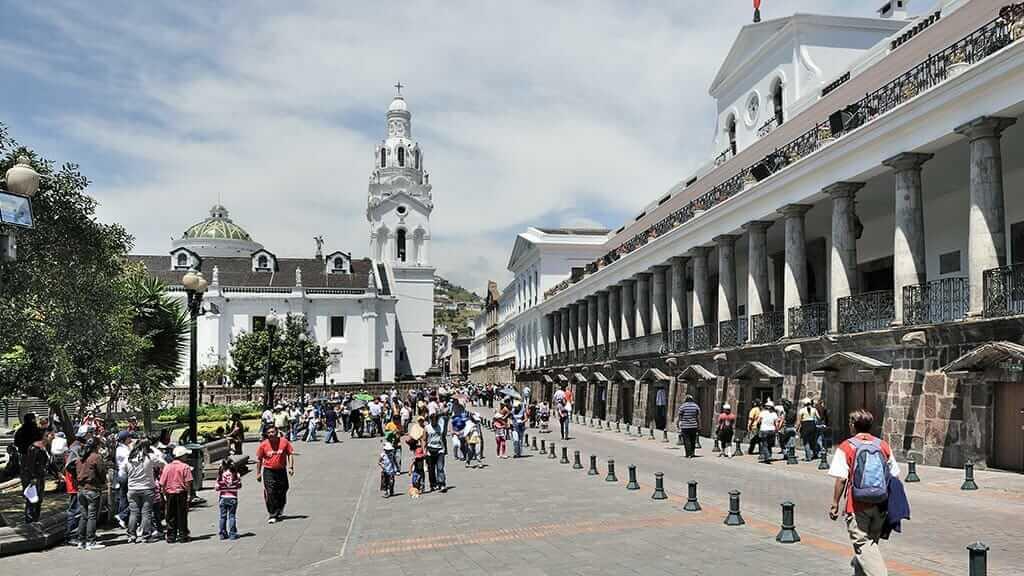 government palace and cathderal at plaza grande quito ecuador