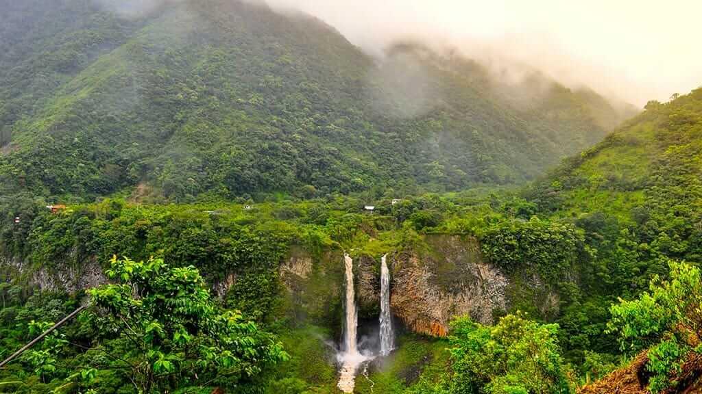 green mountains and manto de la novia twin falls at banos ecuador