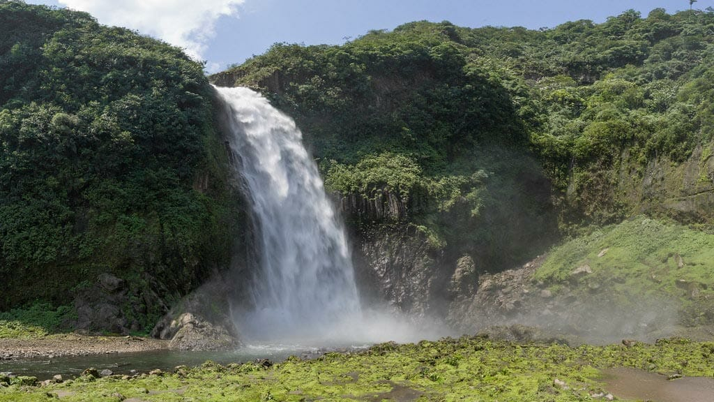 thundering waters of rio malo waterfall ecuador