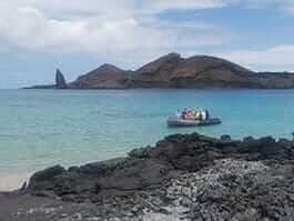 panga with tourists at sullivan bay santiago island galapagos