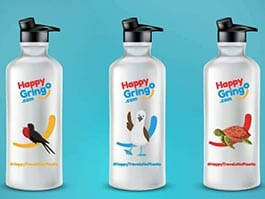 3 reusable happy gringo water bottles to avoid galapagos plastic pollution