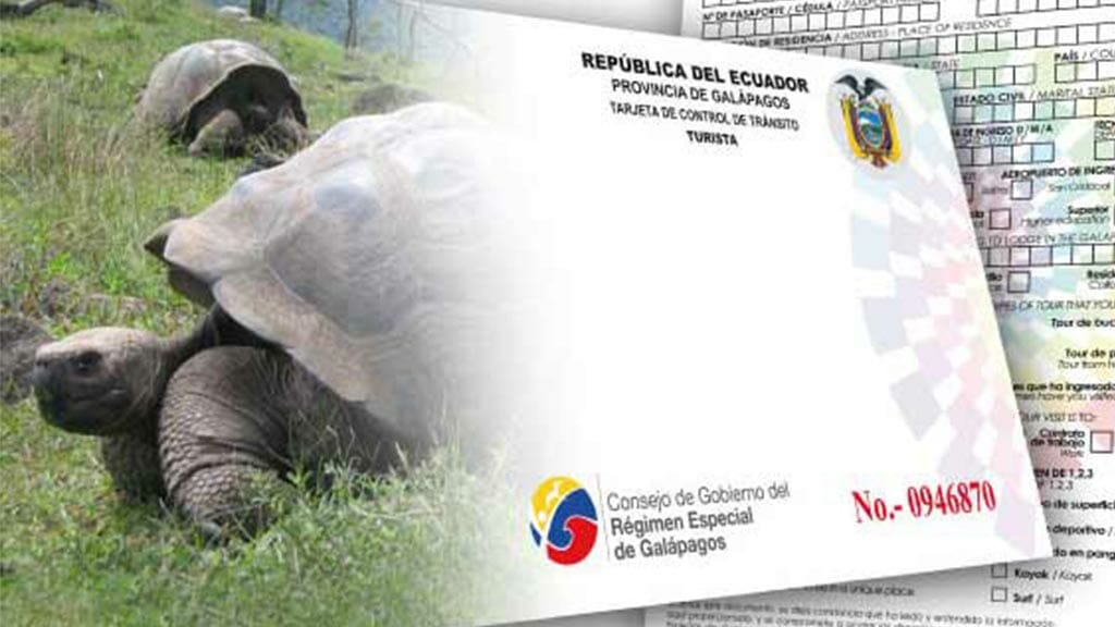 Galapagos FAQ - image of Transit Control Card bought at ingala counter in quito airport