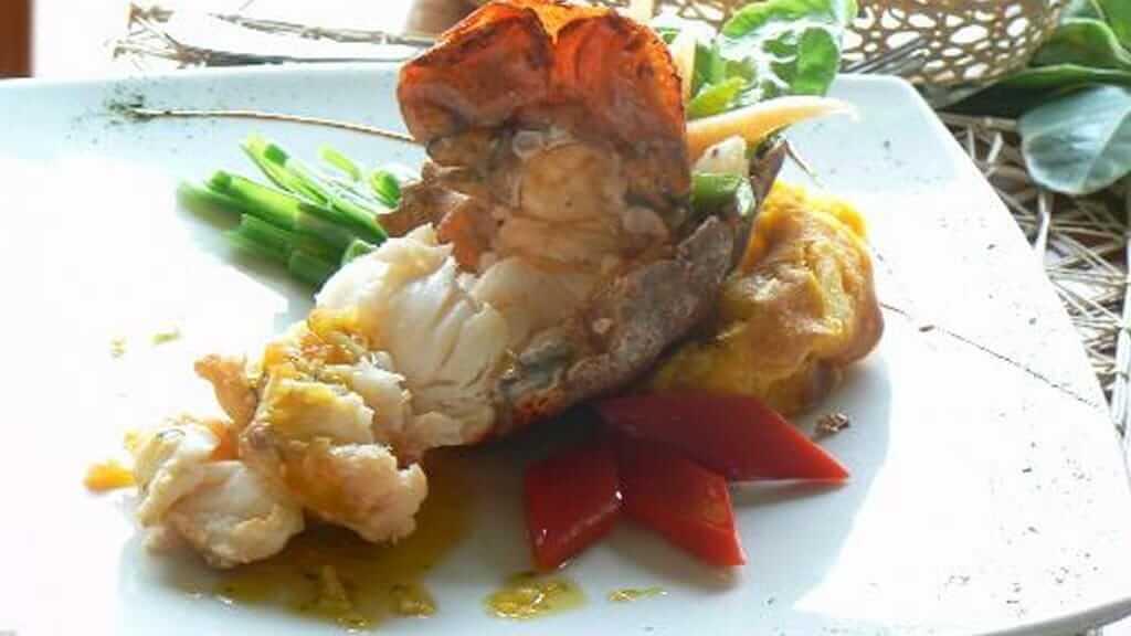 fresh langostina seafood at il giardino restaurant puerto ayora santa cruz galapagos