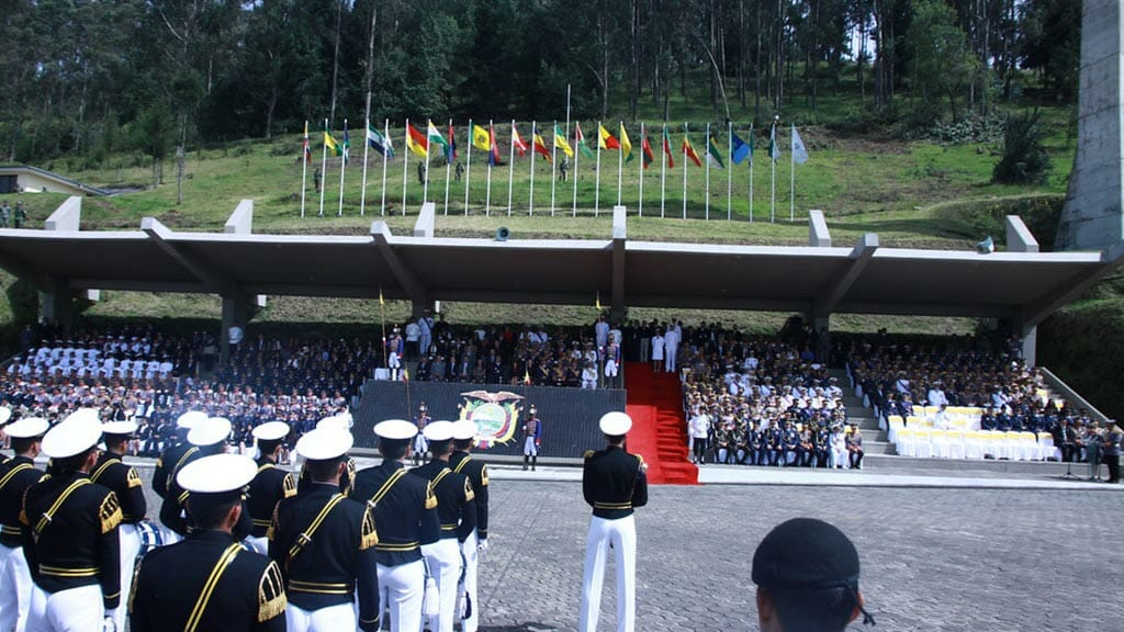 modern day ecuador military parade celebration on 24th-may in quito