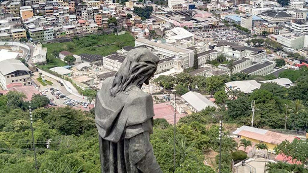 views of guayaquil city from cerro del carmen hill