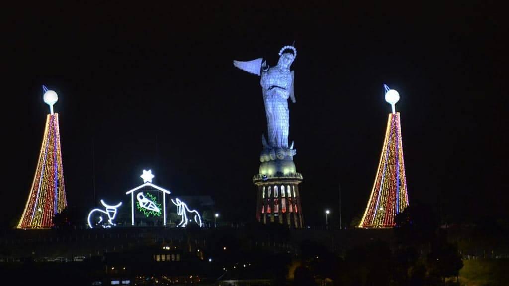 illuminated nativity scene on the panecillo - christmas in quito ecuador