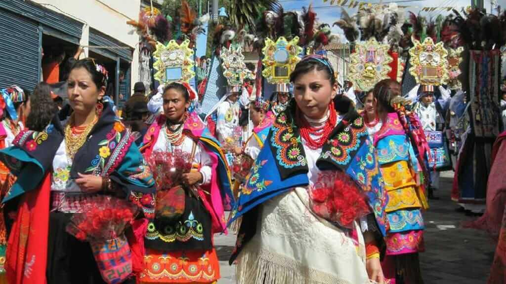 colorful costumes of corpus christi festival cuenca ecuador