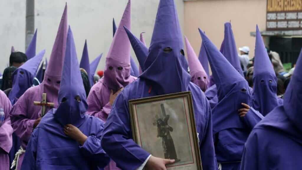 cucuruchos parade semana santa easter quito ecuador
