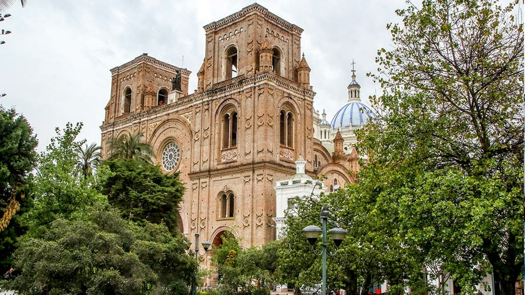 cuenca cathedral facade and plaza