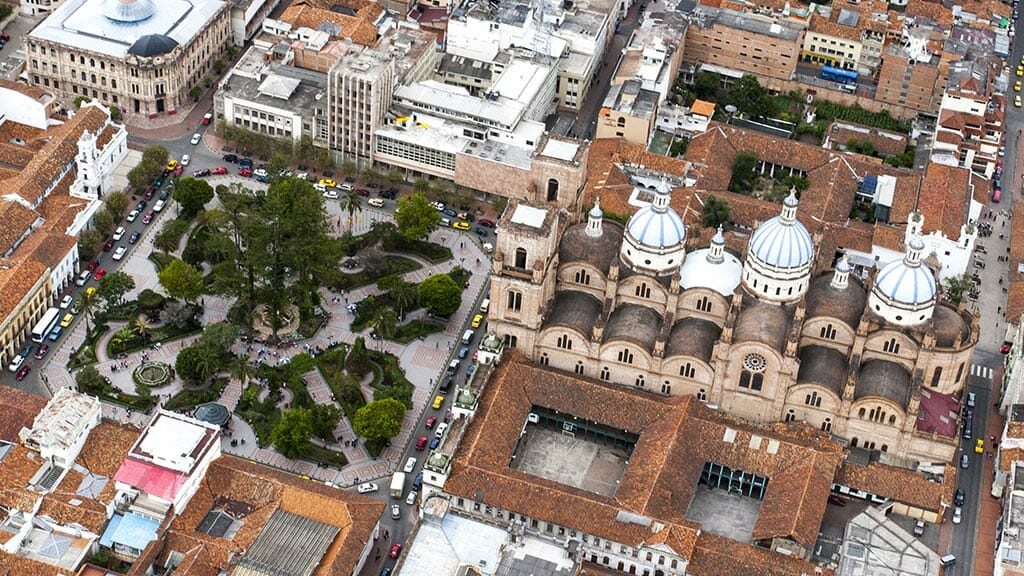 cuenca cathedral and plaza aerial birdseye view