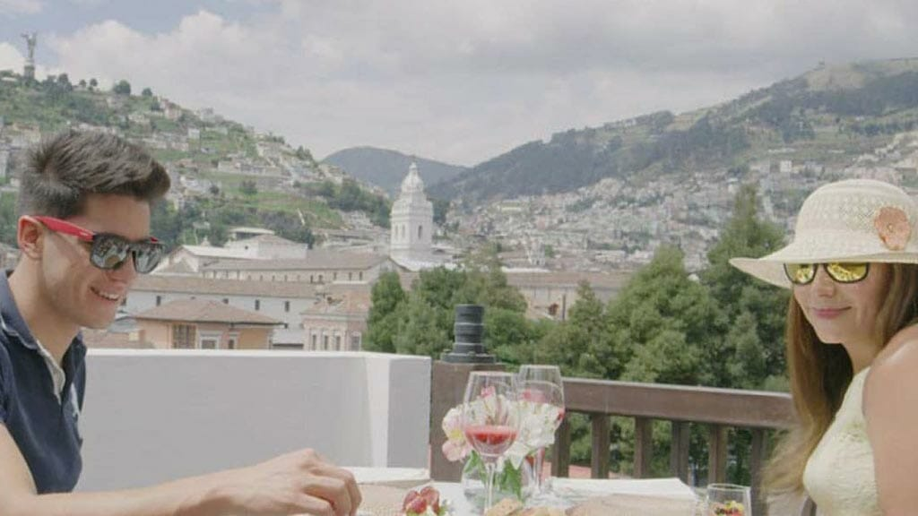 ecuador honeymoon romantic dinner with view of quito old town