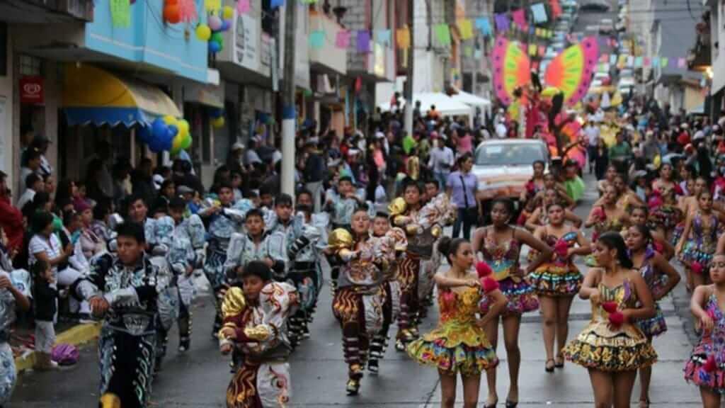 street parade at fiestas de banos de agua santa ecuador