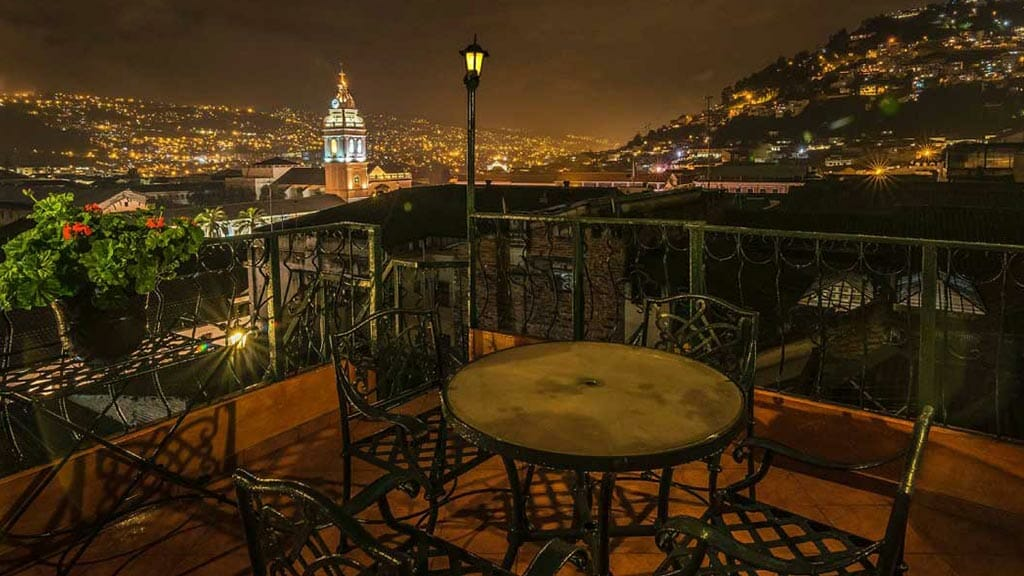 quito hotel with balcony view over the city