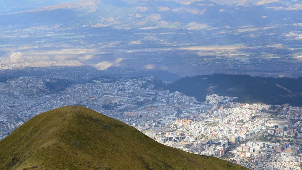 view of quito city from elevation of rucu pichincha