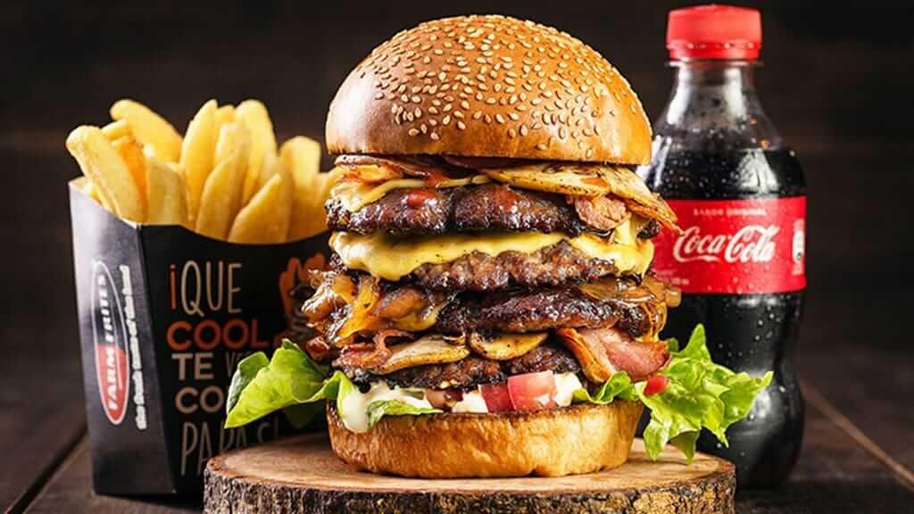 huge hamburger at inka burger quito ecuador