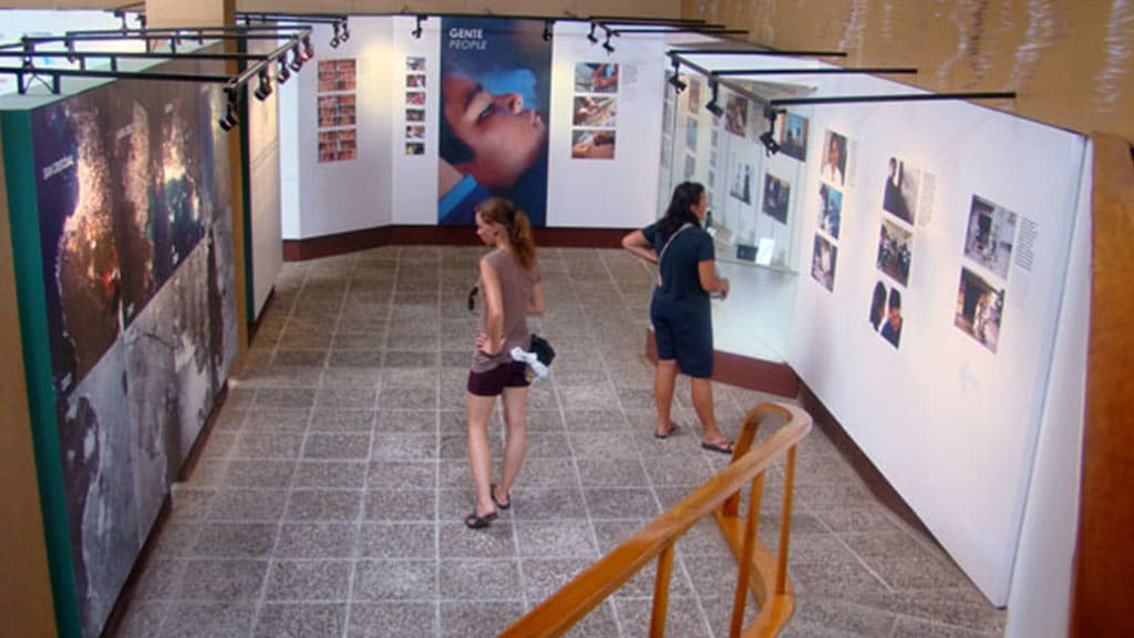 tourists at baquerizo moreno interpretation center san cristobal galapagos