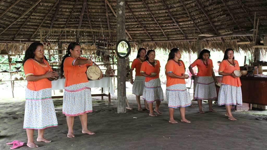 kichwa community dance and music at napo wildlife center ecuador