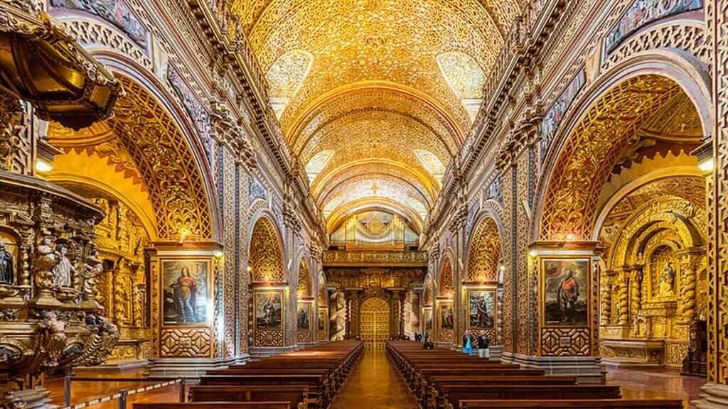 spectacular gold interior of the La compañia church in quito ecuador