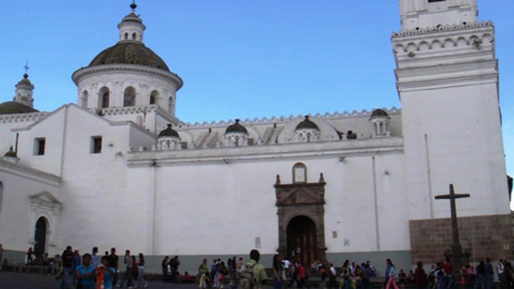 facade of nuestra señora de la merced church quito ecuador