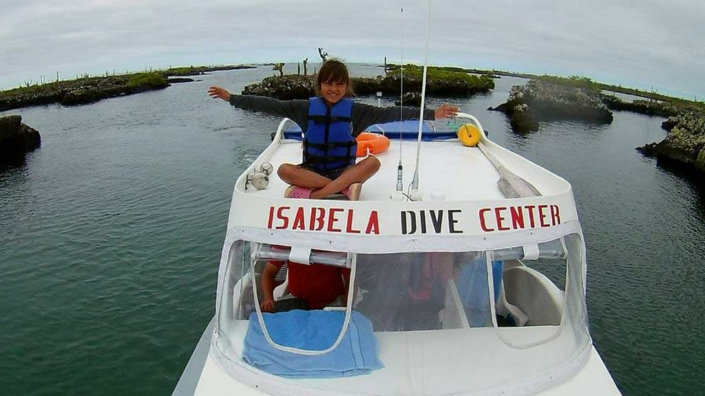 snorkeling with kids at los tuneles galapagos islands