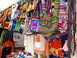colorful handicraft souvenirs in quito tourist market