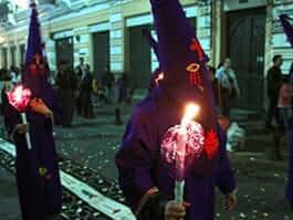 quito's semana santa easter religious parade in ecuador
