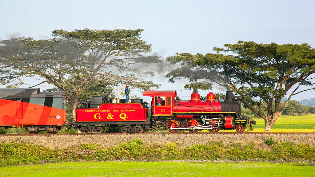 ecuador's red tren crucero at the coast