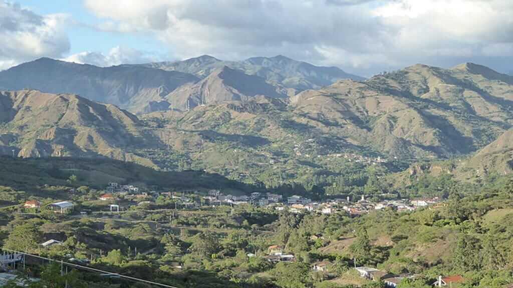 view of mountains and town at vilcabamba ecuador