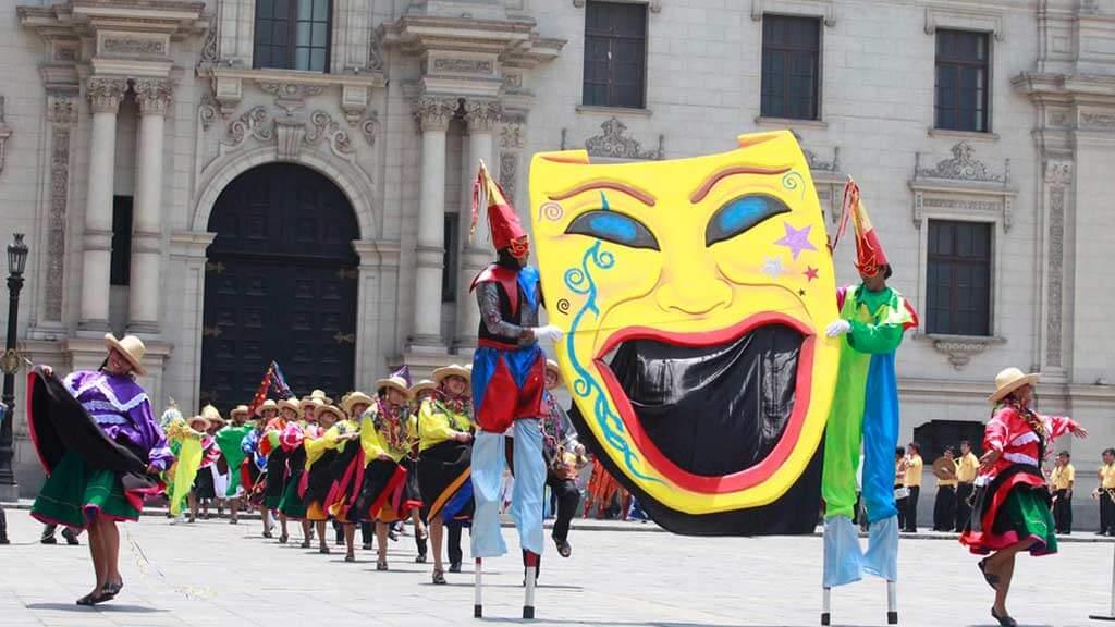 cajamarca parade at carnival in peru